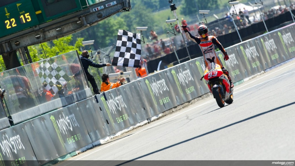 A MotoGP bike crosses the finish line, in this context it is symbolic of the store maintenance finishing.