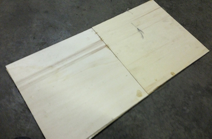 The first two plies of the birch seat pan.