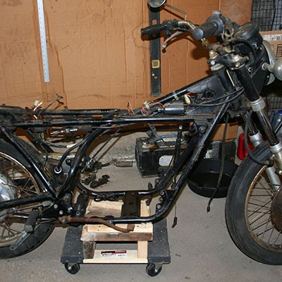 The RD350 without tank, seat, and engine.