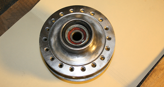 RD350 front hub cleaned and clear coated.
