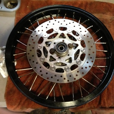 New front wheel with FZR600 brake rotor.