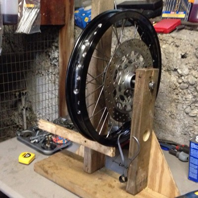Spoke truing on my homemade stand.