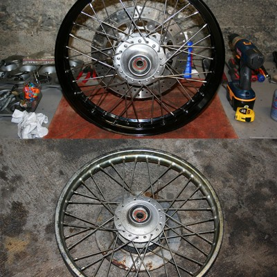 New wheel and brake versus the old wheel and brake.